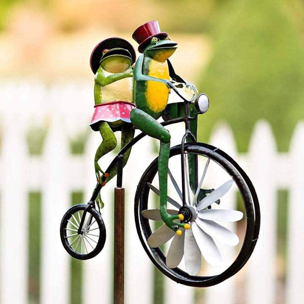 حديقة Vintage دراجة معدنية الرياح سبينر Vintage دراجة السرعوف تماثيل حيوانات المنحوتات ل ساحة الحديقة فناء حديقة الديكور