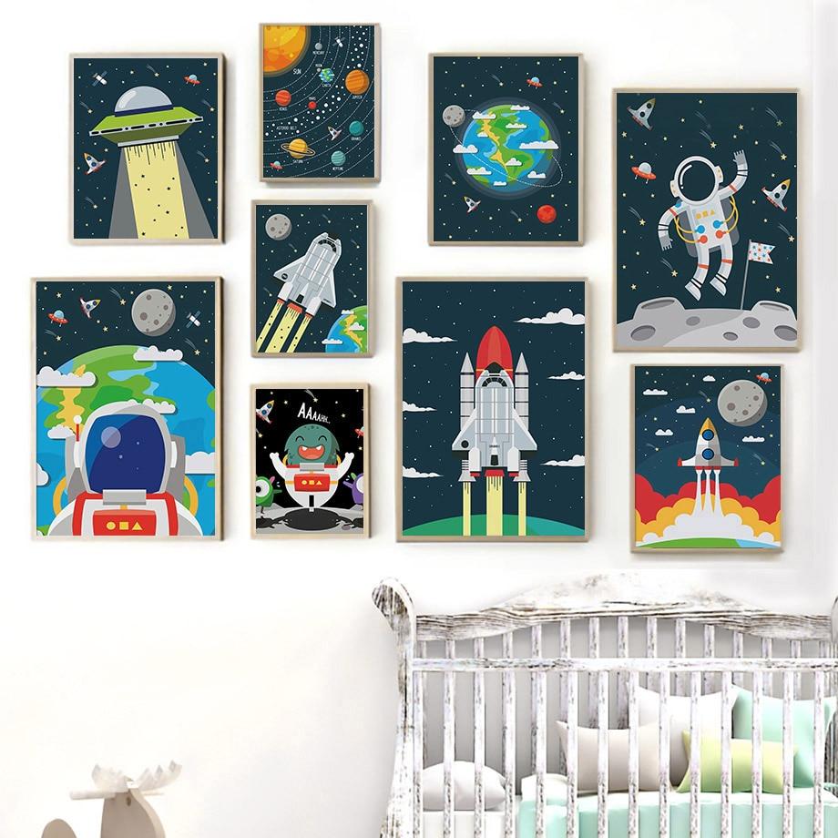 Galaxie terre vaisseau spatial astronaute bébé pépinière mur Art toile peinture nordique affiches et impressions photos pour la conception de la maison enfants