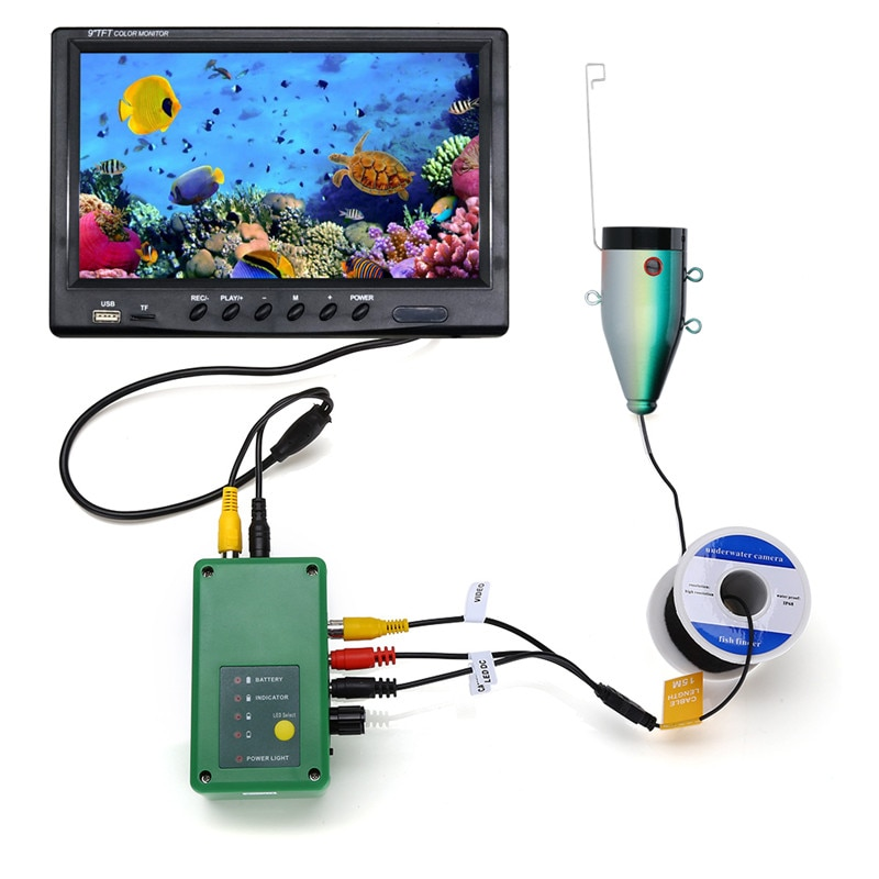 Recording Fish Finder Underwater Fishing  Camera For Ice Fishing HD 1280*720 Screen with 16G Card Fishfinder 9'' DVR HD Color enlarge