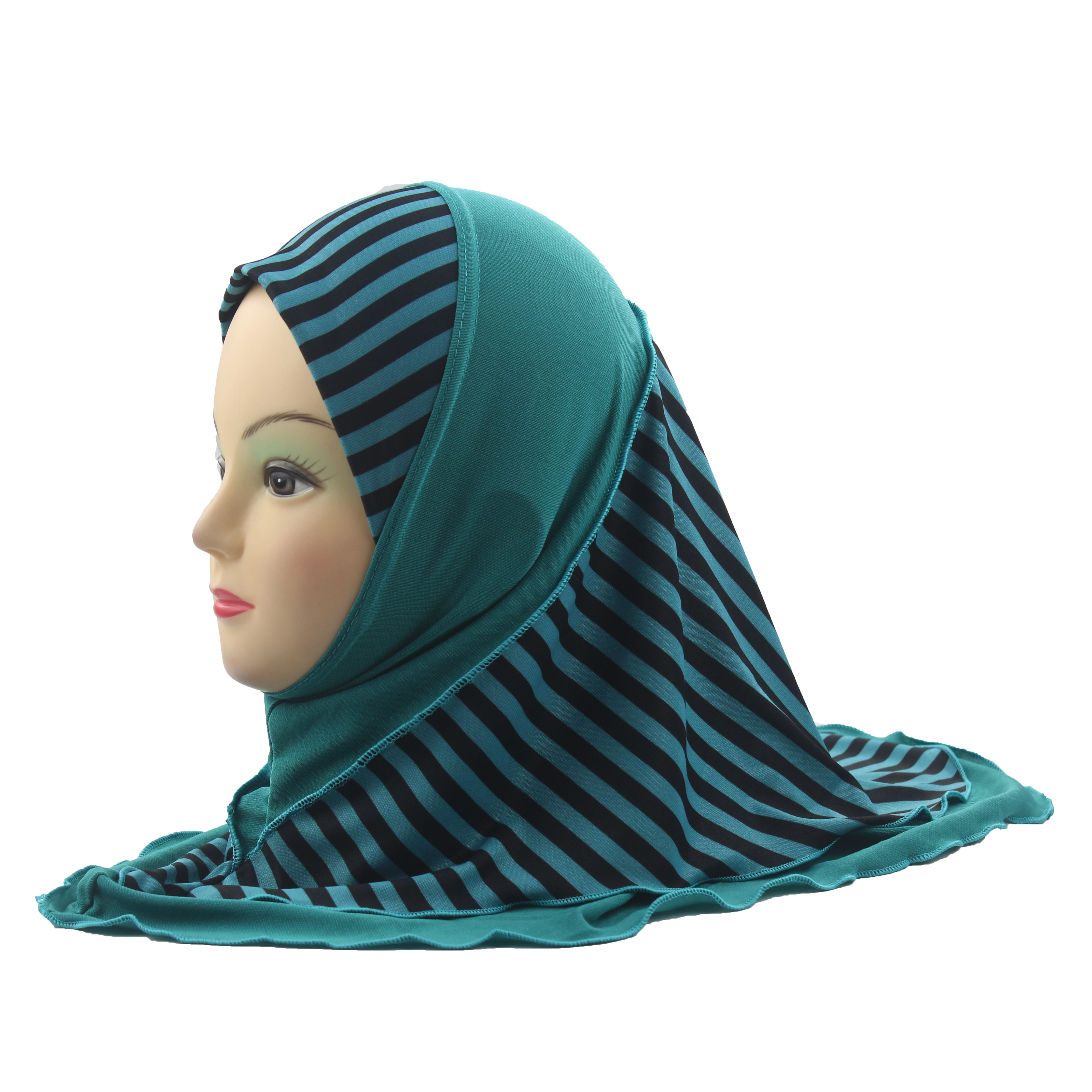 Muslim Girls Kids Hijab Islamic Arab Scarf Shawls Stripe Pattern Double Layers for 3 to 7 years old Girls Wholesale