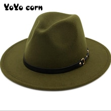 YOYOCORN  Wide Brim Simple Church Derby Top Hat Panama Solid Color Felt Fedoras Hat for Men Women artificial wool Blend Jazz Cap
