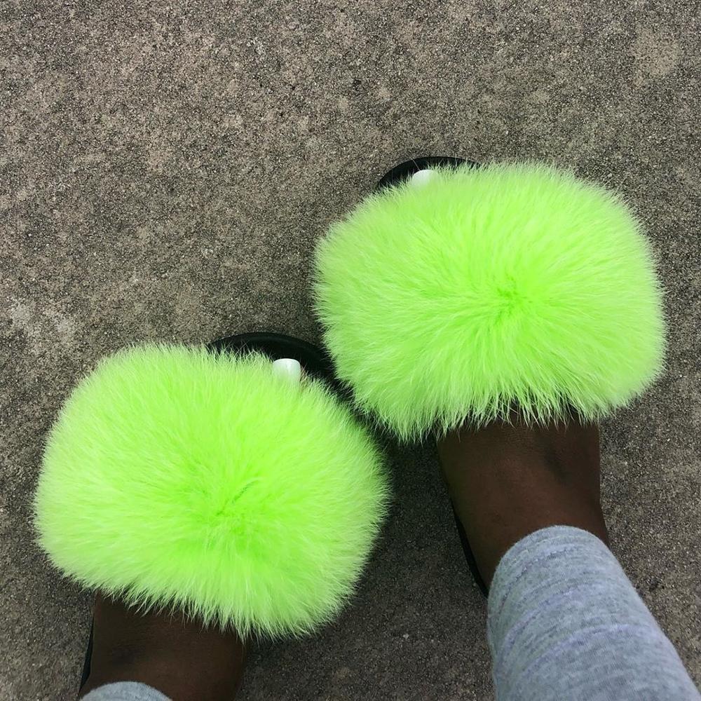 Neon Fox Fur Slides for Women Fuzzy Slippers Ladies Cute Fluffy Slipper 2020 Plush Slides Sandals Flip Flops Home Shoes Woman