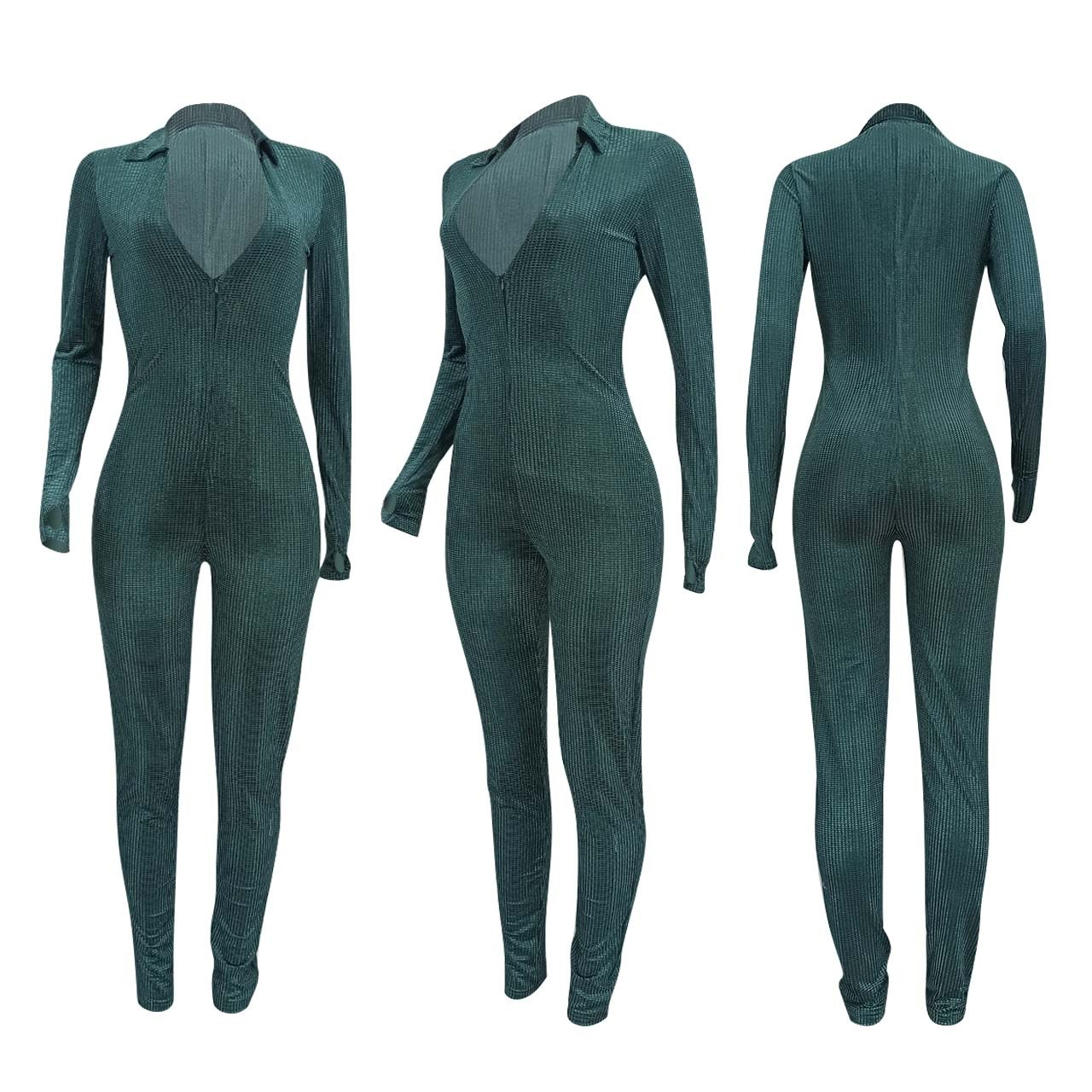 Bulk Wholesale Items Lots Velvet One Piece Club Overall for Women Retro Deep V Neck Long Sleeve Romper Sexy Zipper Skinny Outfit enlarge