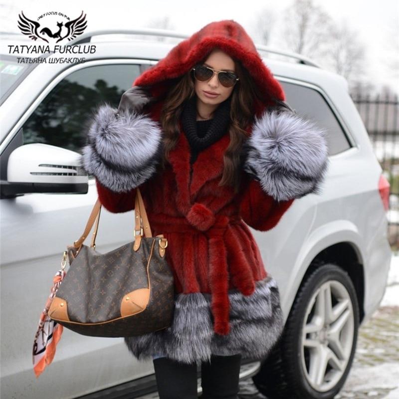 Fashion Wine Red Real Mink Fur Coat 80cm Long Natural Full Pelt Mink Fur Coats With Hood Warm Overcoats Winter New Fur Overcoats недорого