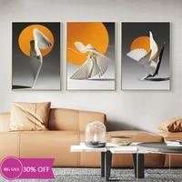 Affiches de peinture en toile Orange Origami  decoration de noel  tableau dart mural de danse pour salon  decoration de maison