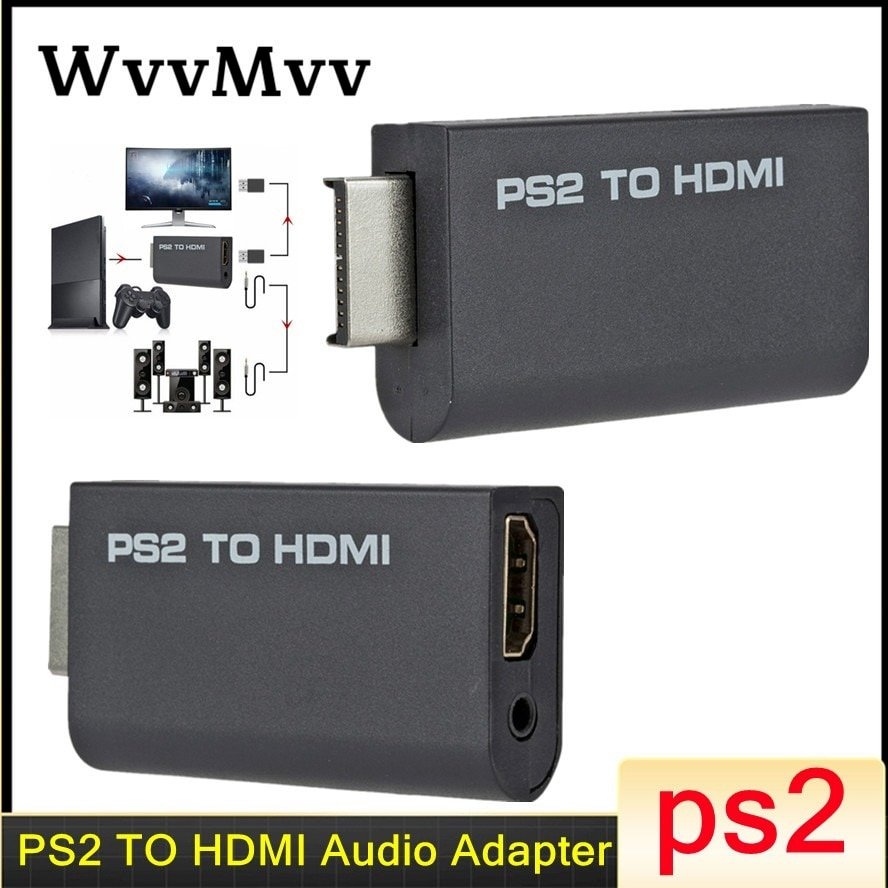 WVVMVV PS2 a HDMI-compatibale 480i/480p/576i Adaptador convertidor de Audio y vídeo/Full HD...
