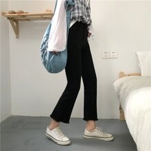 Black Jeans Autumn Winter Korean Style Slimming High-Waisted Trousers Ziwei Bell-Bottom Pants Studen