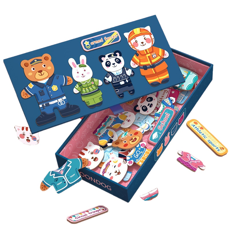 Новые детские Магнитные Головоломки, большая коробка, платье с животными, развивающие игрушки-пазлы для детей, детские деревянные пазлы, иг...