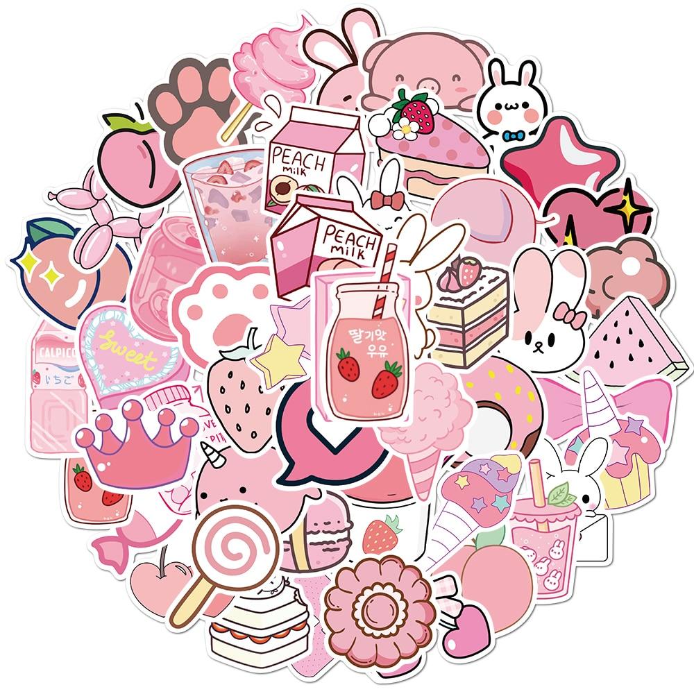 Наклейки розовые Мультяшные для девочек, наклейки на чемодан, ноутбук, скейтборд, велосипед, рюкзак, игрушки, 50 шт., подарок для детей