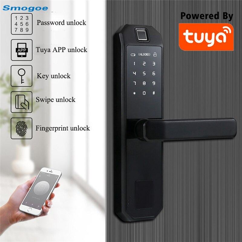Review Smogoe TUYA Smart Door Lock Furniture Home Lock With App Fingerprint Password Remote Control Unlock Wifi Smart Home Lock