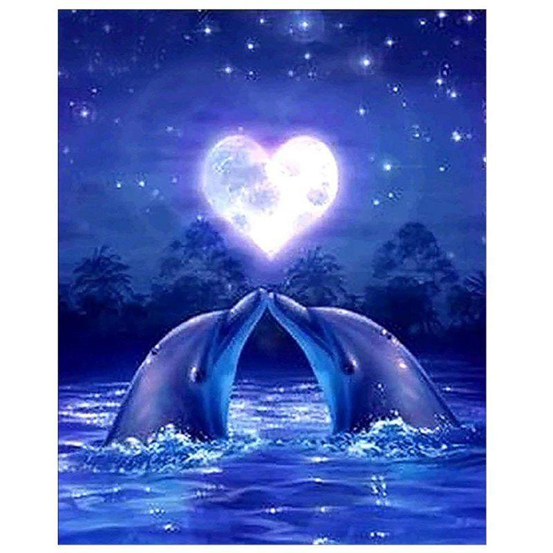 Kits de bordado de diamantes DIY, pintura de animales de diamante, delfines amorosos, Kit de punto de cruz 30x40cm
