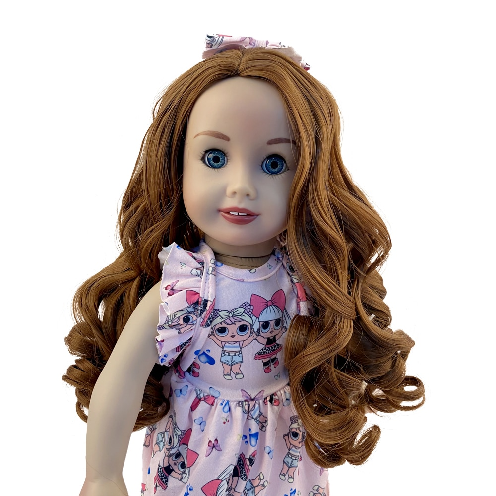 Aidolla 18inch American Doll Wig Long Curly Hair Natural Color High Temperature Doll Accessories For Dolls DIY Girl Gift