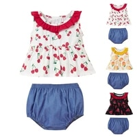 girls two piece sleeveless print top fruit ruffle pleated patchwork dress solid casual denim shorts summer fashion suit