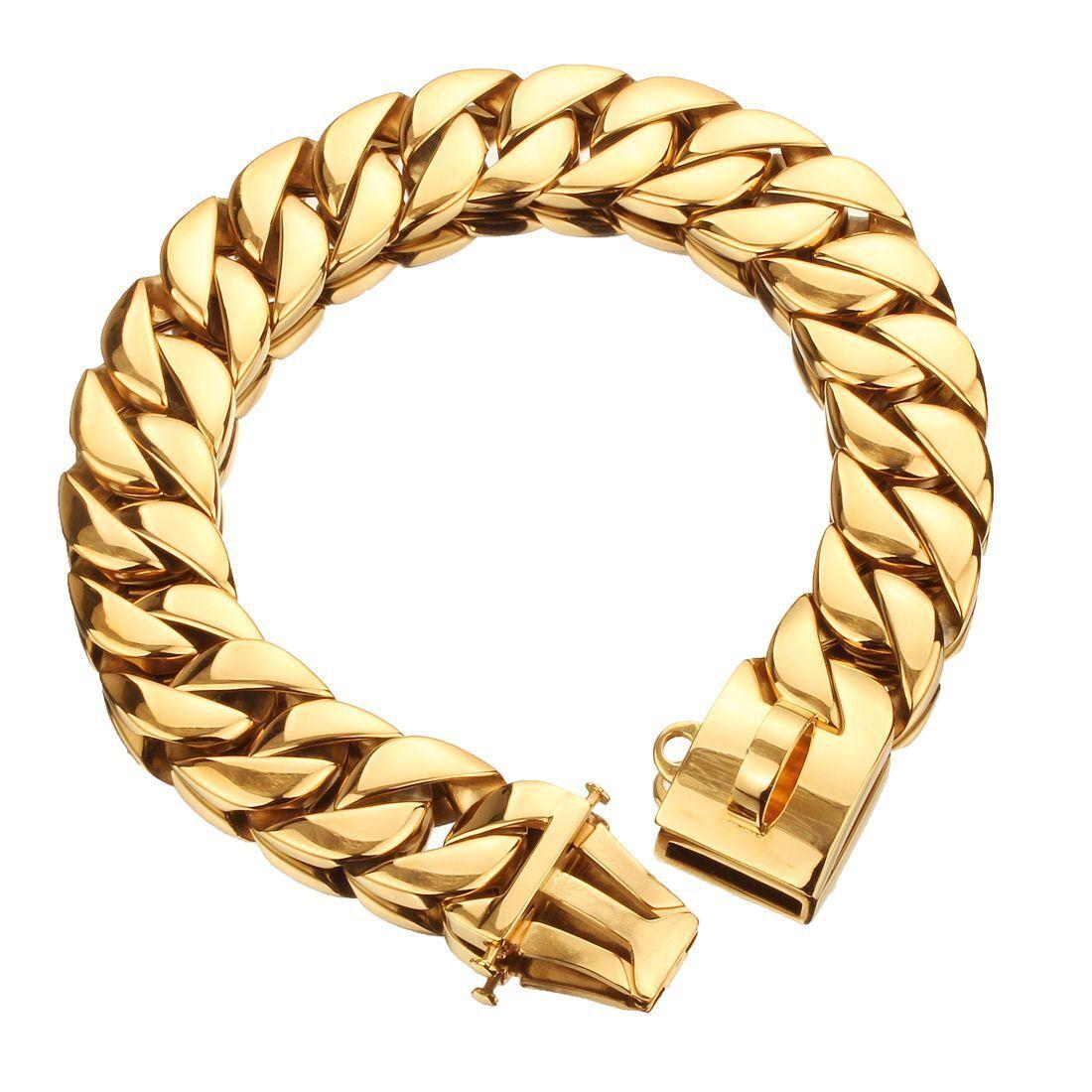 Large Dog Collar Collar Gold Chain 32mm 316 Stainless Steel Bulldog Pitbull Collar Leash Pet Trainning Dog Collar LeadNecklace