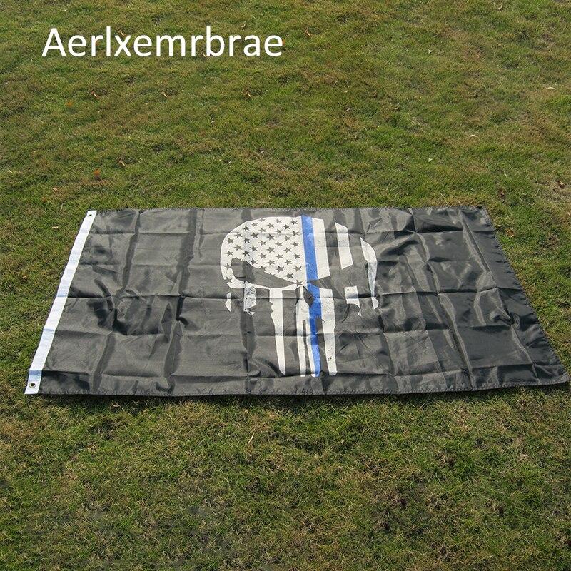 Frete grátis aerxemrbrae flag150x90cm socorrista polícia fina linha azul osso do crânio Da Bandeira para a decoração