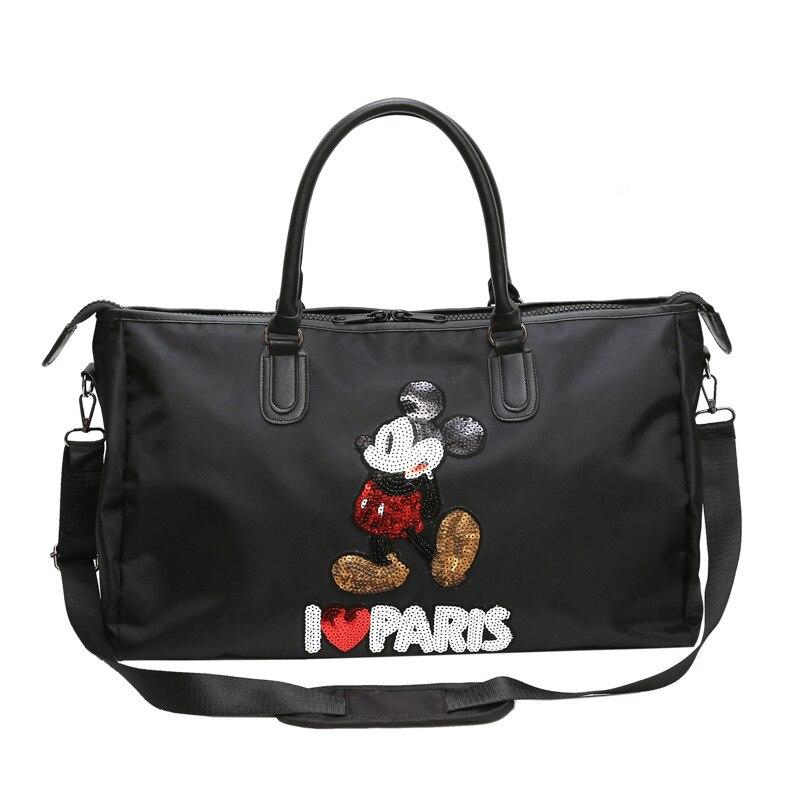 Bolsa de Viagem Bolsa de Fitness à Prova Bolsa de Ombro Disney Moda Dwaterproof Água Lantejoulas Mickey Mouse Ginásio Bolsa Portátil Grande Capacidade