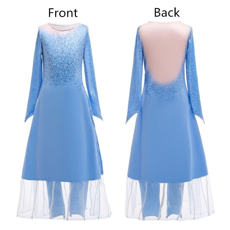 Vestido de Elsa para niñas, vestido de fiesta, 2 Vestidos Cosplay para niña, ropa de Anna con estampado de reina de la nieve, vestido de princesa de cumpleaños, disfraz para niños