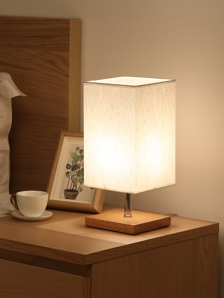 Simple Modern Table Lamp Bedroom Study Bedside Lamp Birthday Gift Night Light Decoration Wood Cloth Lampshade Home Living Room enlarge