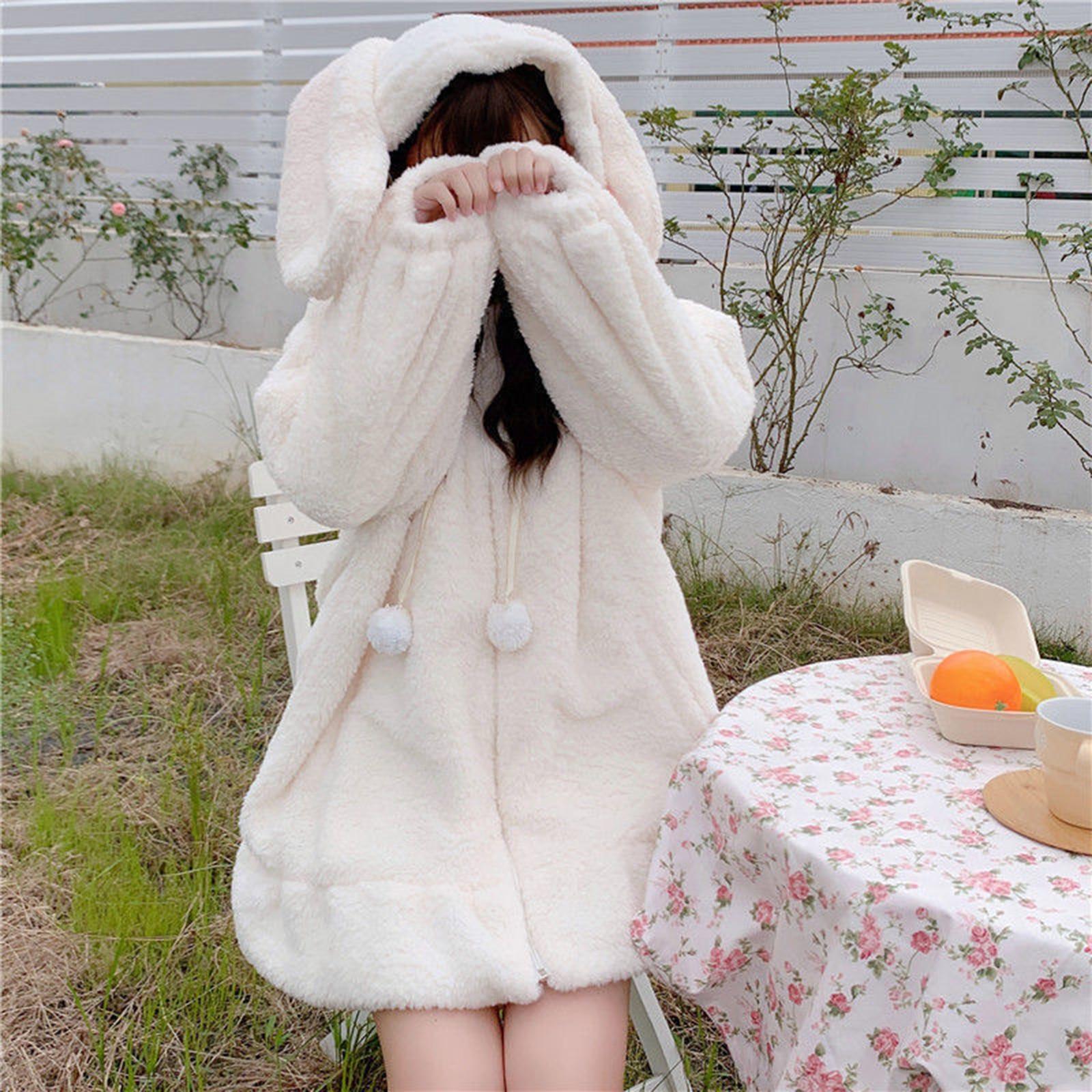 Фото - Women Fall Warm Bunny Ear Hoodie Coat Fuzzy Fluffy Long Sleeve Oversize Rabbit Hooded Zipper Jacket Sweatshirt Kawaii Streetwear fuzzy hooded jacket