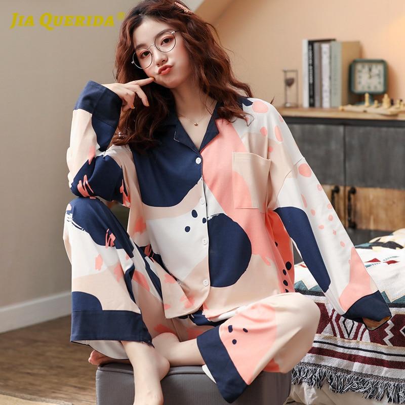 2020 primavera nuevo conjunto de Pijamas para mujer estilo minimalista coreano elegante azul Rosa bolsillo de Rebeca pantalones Camisón de algodón de manga larga