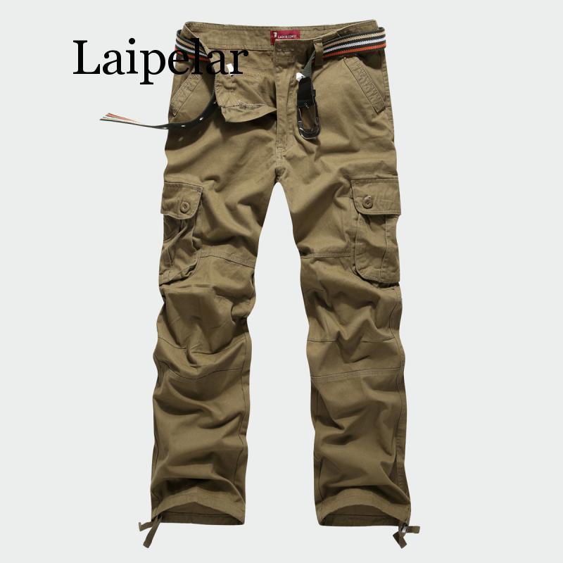 Laipelar, новинка, мужские брюки карго, Мужские штаны с несколькими карманами, военные камуфляжные спортивные штаны, Мужские штаны с эластичной ...