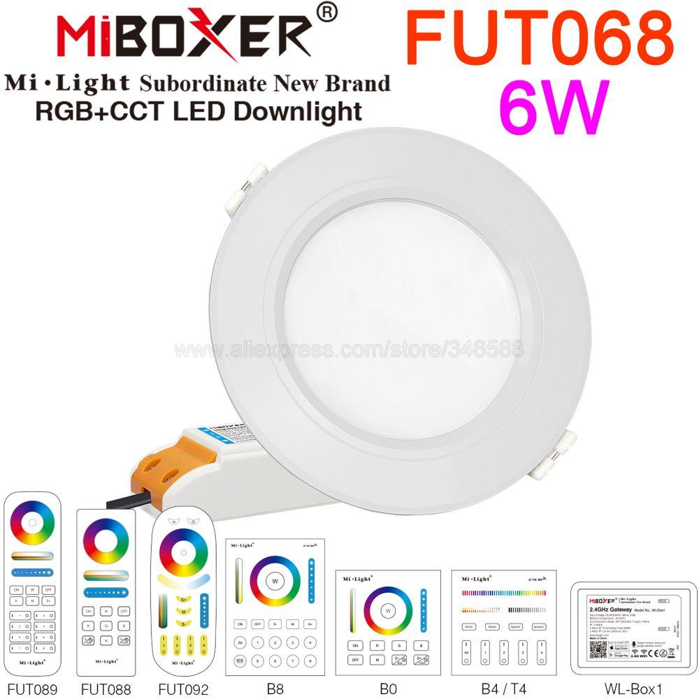 MiBoxer 6W Smart RGB + CCT Downlight ze sterownikiem AC85-260V FUT068 2.4G bezprzewodowa RF zdalna aplikacja WiFi Alexa Google sterowanie głosem