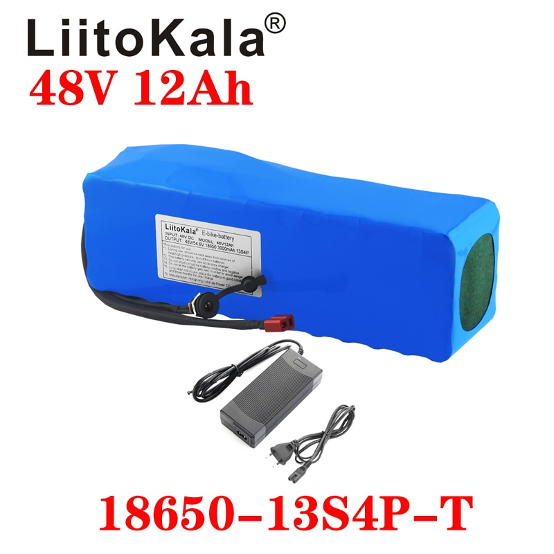 LiitoKala 48 فولت 12ah بطارية ليثيوم 48 فولت 12ah دراجة كهربائية بطارية مع 54.6 فولت 2A شاحن ل 500 واط 750 واط 1000 واط موتور واجب الحرة