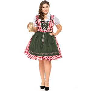 Women Dress Apron Set German Bavarian Oktoberfest Halloween Cosplay Costumes Beer Maid Waiter Fancy Party Dresses
