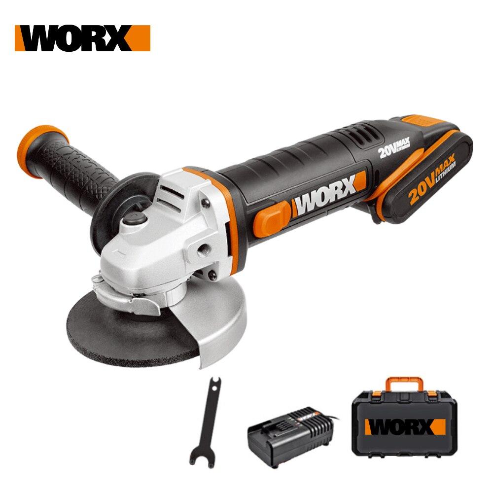 Worx 20 فولت طاحونة صغيرة WX800 115 مللي متر اللاسلكي زاوية طاحونة أدوات كهربائية ماكينة الطحن Rechargerable 20 فولت Powershare + أداة
