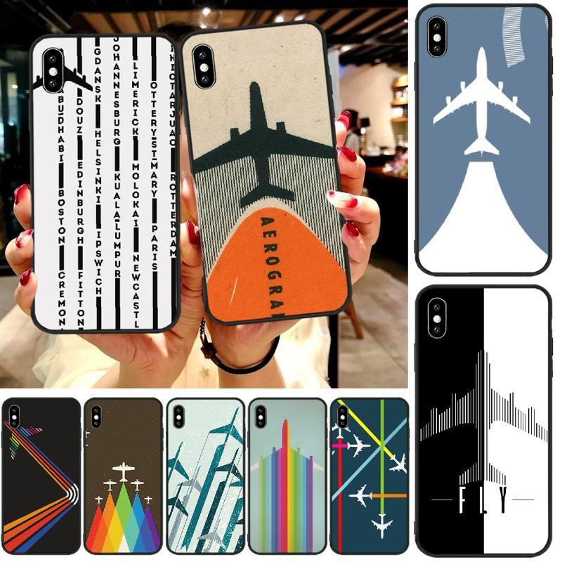 LJHYDFCNB avión patrón TPU teléfono negro cubierta de la caja del casco para iphone6 6s plus 7 8 7 8 plus X XR XS MAX 11 Pro Max cubierta