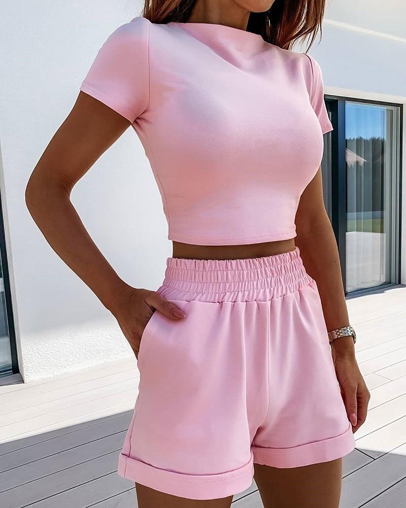 VS ve LLWQ 2 parça Set kadın yaz o-boyun rahat kırpma üst 2020 kadın giyim eşofman cepler gevşek şort iki parça
