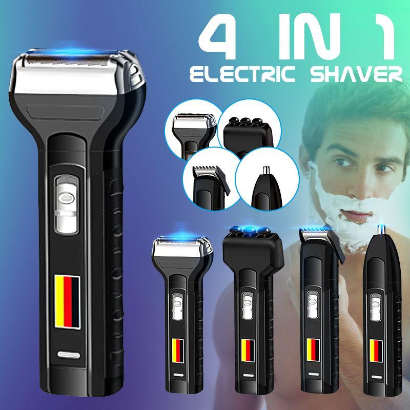 Аккумуляторная электрическая бритва для бороды Becornce 4-в-1, машинка для стрижки волос, триммер для волос в носу, массажные бритвы для мужчин, в...