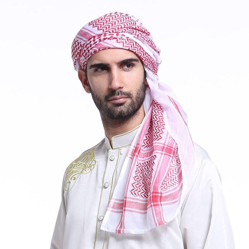 Homem Cap Hijab Muçulmano Cachecol Multifunções Homem Indiano Árabe Keffiyeh Palestina Envoltório Bandana Turbante Cachecol Vestuário Islâmico