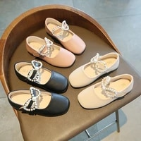 2021 spring new girls leather shoes princess shoes korean pearl small single layer shoes bow performance shoes baby girl shoes