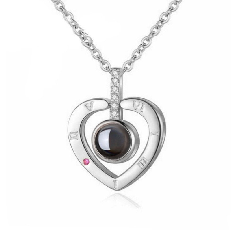 Romantic Love Memory Wedding Necklace Rose Gold&Silver 100 languages I love you Projection Pendant N