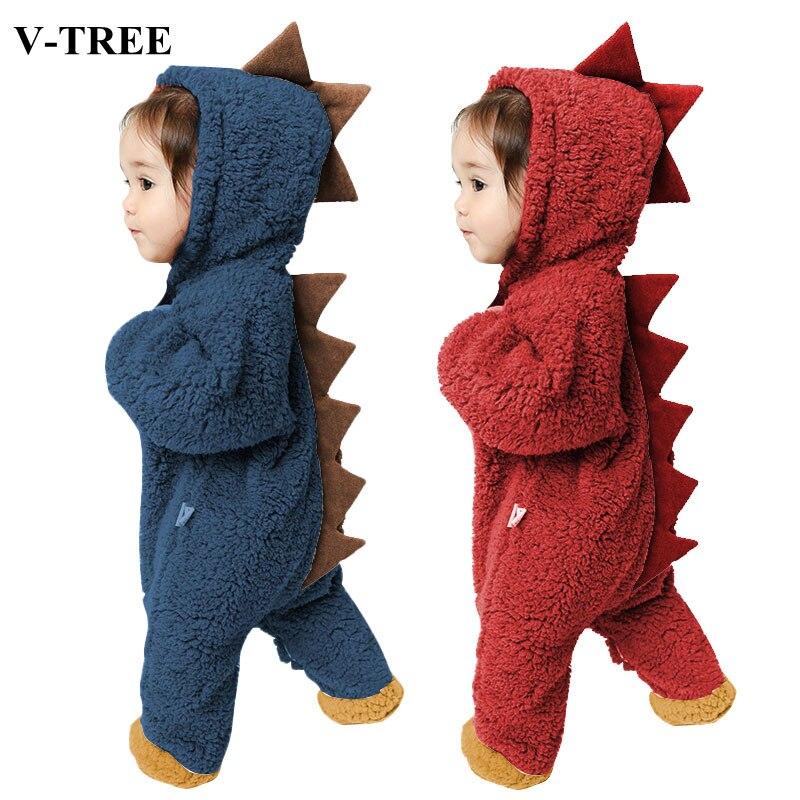 Pelele de dinosaurio para bebé de invierno, traje de Año Nuevo grueso y cálido para niños y niñas, ropa para bebés, pijamas de recién nacidos, ropa para bebés