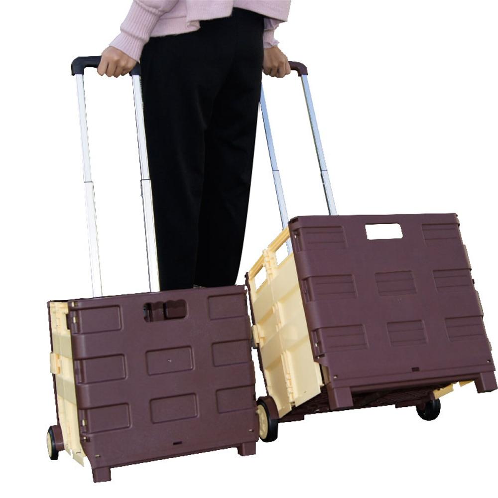 B-LIFE plegable de carrito de compras portátil plegable rodando caja carretilla girar las ruedas para compra de viaje se equipaje