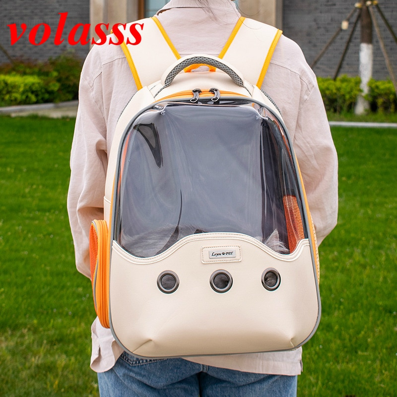 Volasss Women Cat Backpack Fat Cat Bag Girl Breathable Transport Travel Bags Dog Space Capsule Pets Backpacks Handbag 2021 New