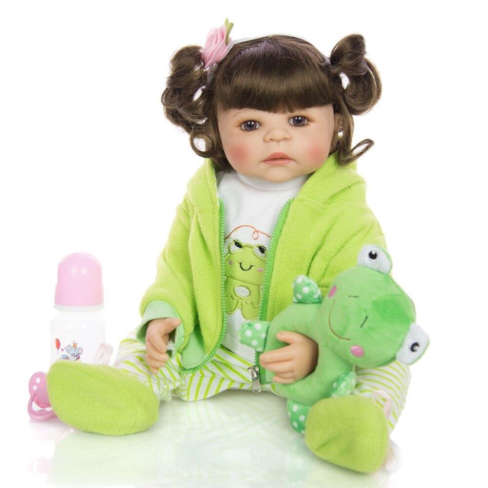 22Inch Reborn Dolls Washable 55 cm Full Silicone Reborn baby girl doll in frog clothing set kids bebe gift reborn bonecas