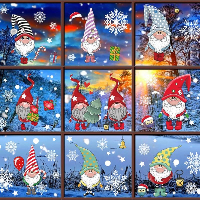 Santa Elk Shopping Mall Christmas Decoration Non-adhesive Window Glass Electrostatic Stickers Navidad Window Sticker New Year 20
