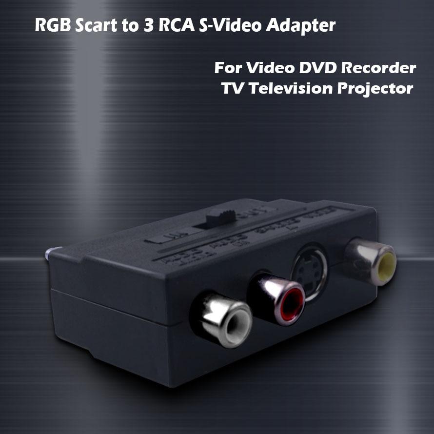 RGB Scart to 3 RCA S-Video адаптер, Композитный RCA SVHS S-Video AV TV Аудио для видео DVD рекордер ТВ проектор