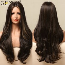 GEMMA Long Body Wave Black Brown Highlight Synthetic Wigs for  Women Afro Natural Middle Part Cosplay Heat Resistant Fake Hair