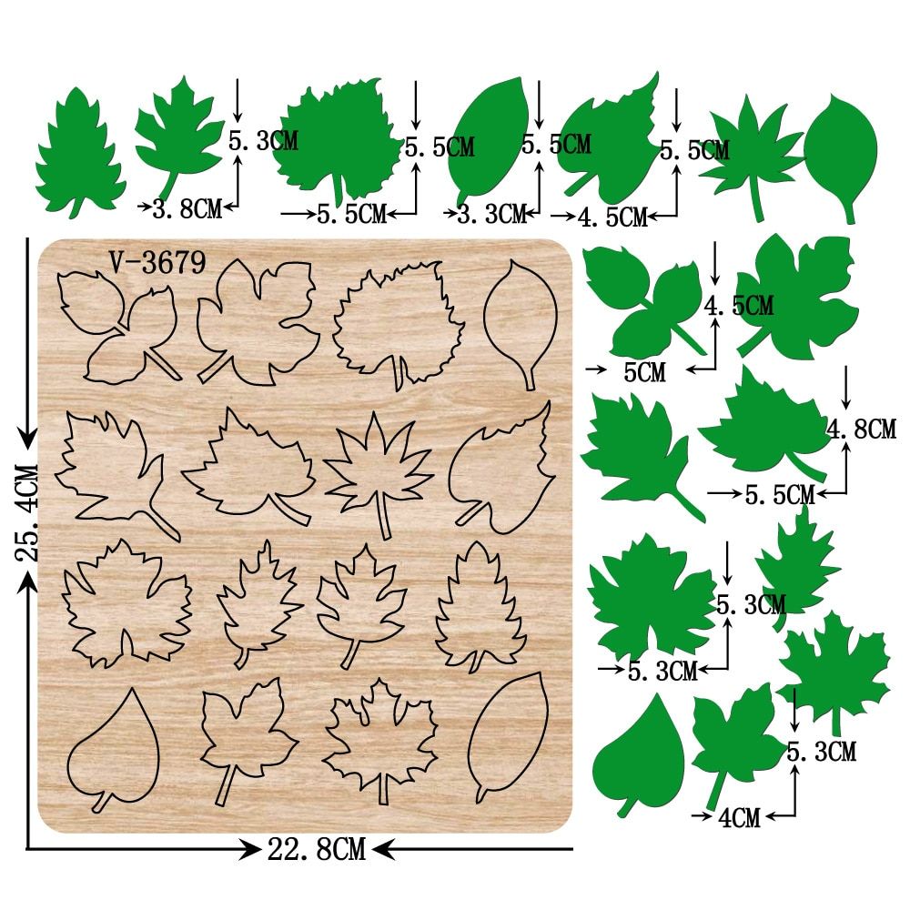 New leaf wooden dies cutting dies for scrapbooking Multiple sizes V-3679