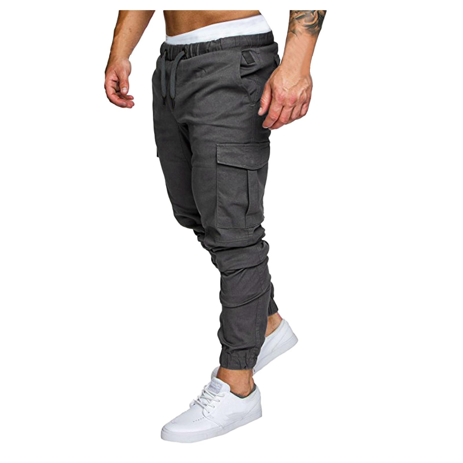 Casual Jogger Men's Multi-pocket Drawstring Pants Men's Casual Pants 2021 Gym Fashion Workout Sweatp