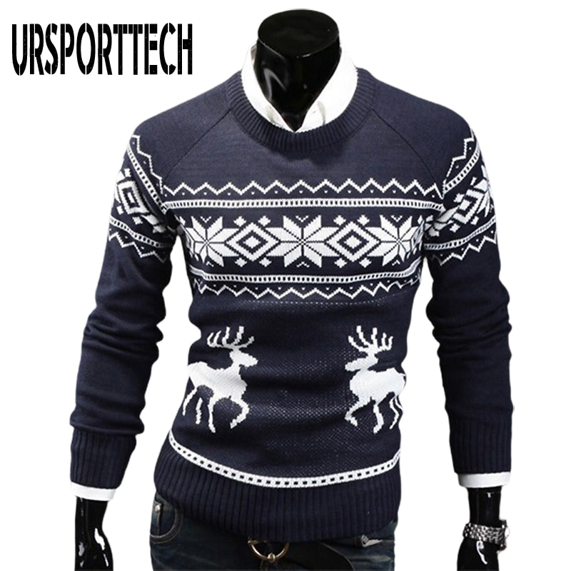 Autumn Thin Christmas Sweater Men Pullovers Deer Print Oversized Knitted Sweaters Unisex Man Woman Funny Ugly
