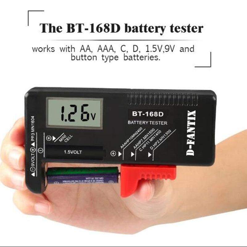 Probador de batería Digital multifunción comprobador de batería para pilas de botón AA AAA C D 9V 1,5 V BT-168D