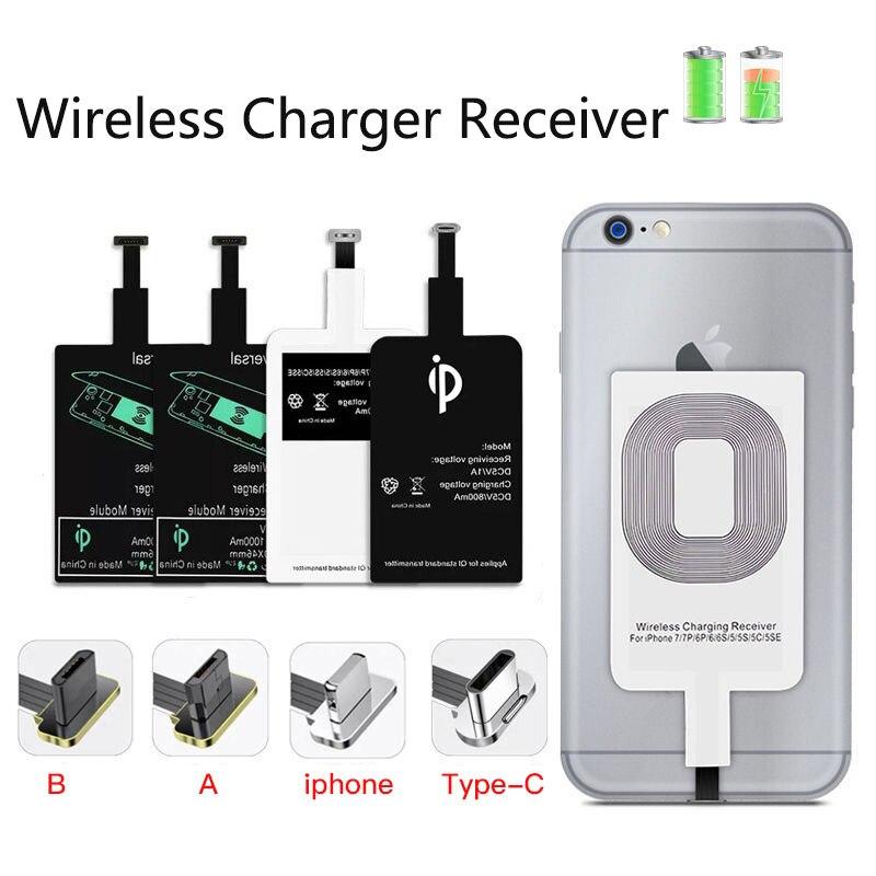 Adattatore di ricarica Wireless veloce per iPhone ricevitore a induzione Android bobina Qi caricabatterie Wireless ricevitore supporto Micro USB tipo C