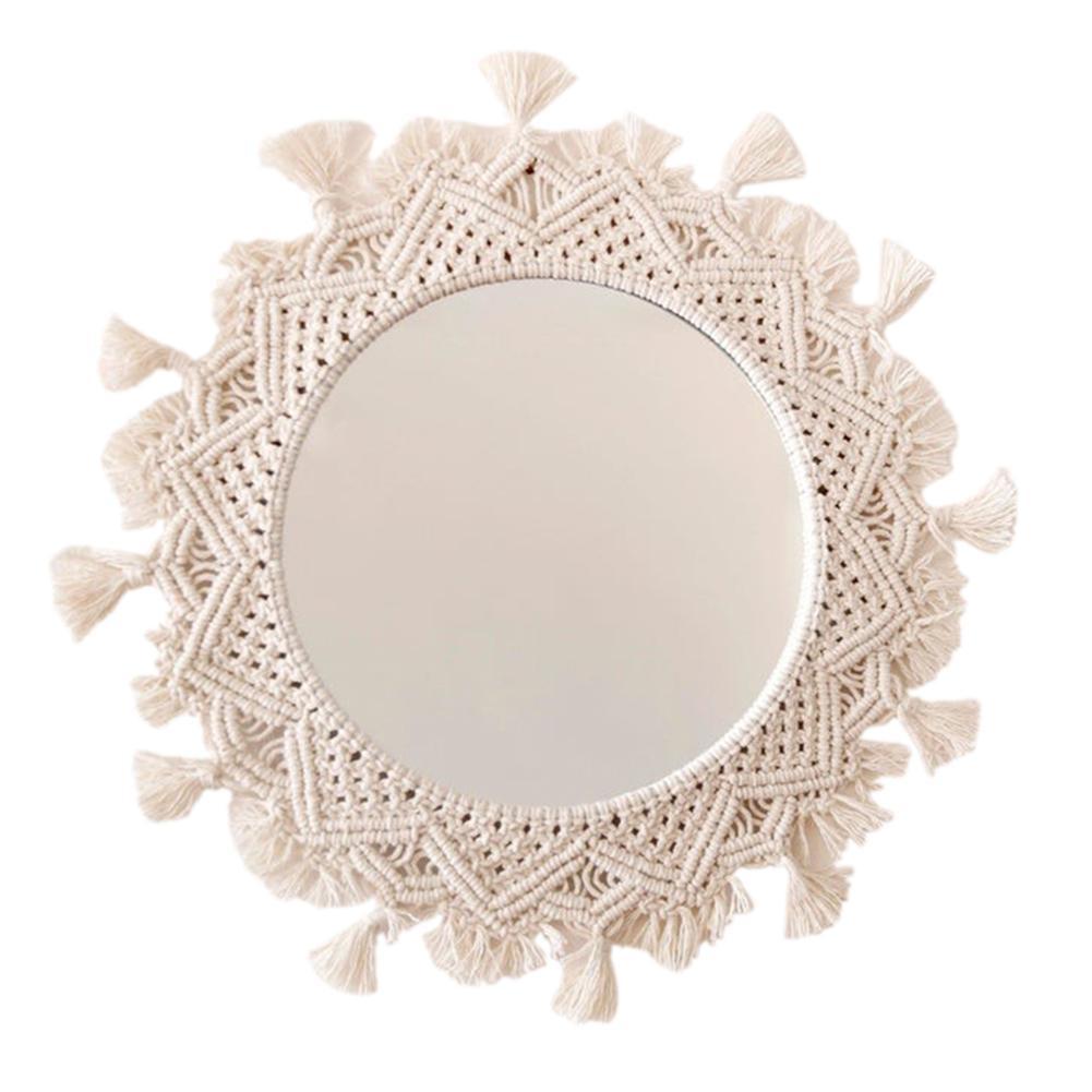 Espelho de Parede Espelho para Sala Decoração do Banheiro Redondo Macrame Boho Pendurado Parede Artesanal Corda Algodão Maquiagem Estar Tapeçaria