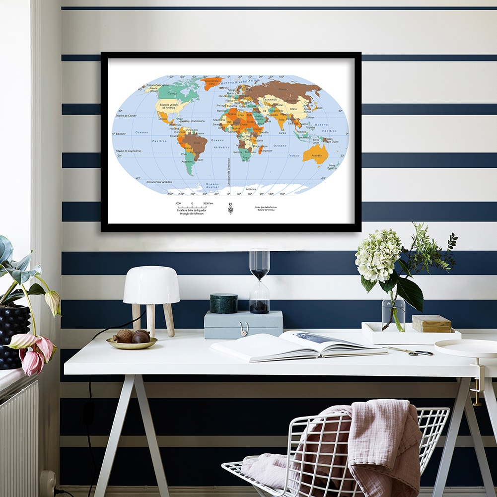 90*60cm The Portuguese World Map Wall Art Poster Decorative Canvas Painting Living Room Home Decoration Children School Supply
