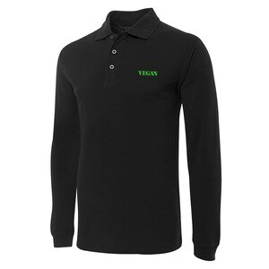Vegetarian Veg Vegan Embroidery Long Sleeve Polo Shirts Embroidered Men's Shirts